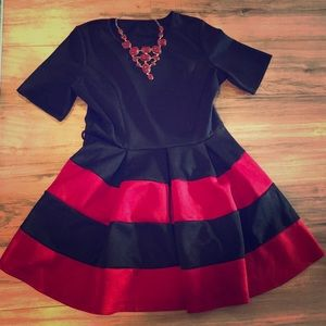 BNWT Red & Black Ponte Fit and Flare Dress ❤️
